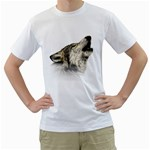 Howling Wolf Men s T-Shirt (White)  Front