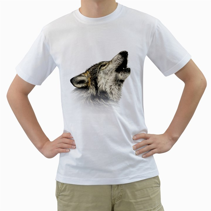 Howling Wolf Men s T-Shirt (White)