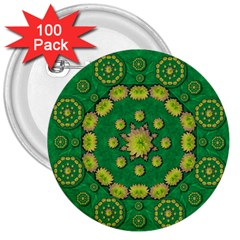 Fauna Bloom Mandalas On Bohemian Green Leaves 3  Buttons (100 Pack)