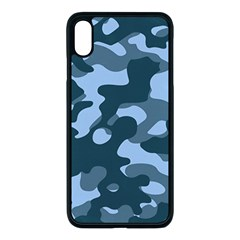 Military Blue Camouflage Iphone Xs Max Seamless Case (black)
