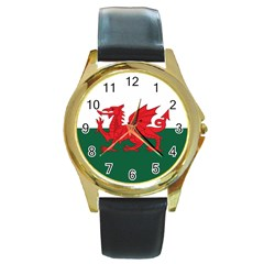 Flag Of Wales Round Gold Metal Watch