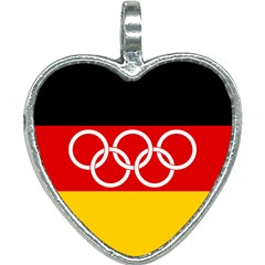 Olympic Flag Of Germany, 1960-1968 Heart Necklace by abbeyz71