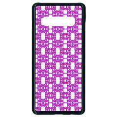 Pink  White  Abstract Pattern Samsung Galaxy S10 Plus Seamless Case (black) by BrightVibesDesign