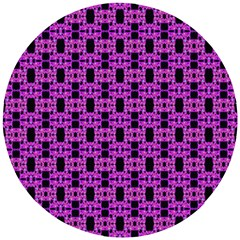 Pink Black Abstract Pattern Wooden Puzzle Round by BrightVibesDesign