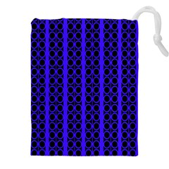Circles Lines Black Blue Drawstring Pouch (5xl)