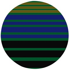 Black Stripes Green Olive Blue Wooden Bottle Opener (round) by BrightVibesDesign