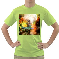 Cute Flying Fairy In The Night Green T-shirt by FantasyWorld7