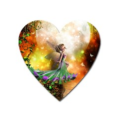 Cute Flying Fairy In The Night Heart Magnet by FantasyWorld7