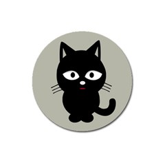 Cat Pet Cute Black Animal Magnet 3  (round)