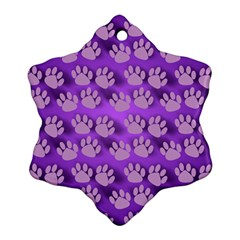 Pattern Texture Feet Dog Purple Ornament (snowflake)