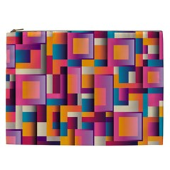 Abstract Background Geometry Blocks Cosmetic Bag (xxl)