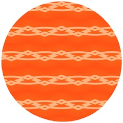 Pattern Orange Wooden Puzzle Round by HermanTelo