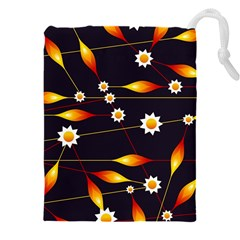 Flower Buds Floral Background Drawstring Pouch (4xl)