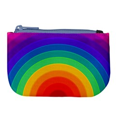 Rainbow Background Colorful Large Coin Purse by HermanTelo