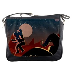 Astronaut And Monster Messenger Bag by trulycreative