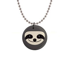 Funny Sloth 1  Button Necklace by trulycreative