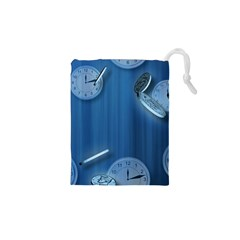 Time Clock Watch Hours Drawstring Pouch (xs)
