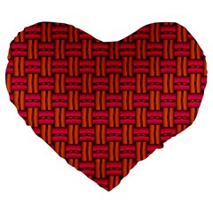 Pattern Red Background Structure Large 19  Premium Heart Shape Cushions