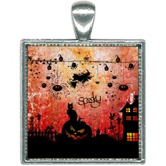 Funny Halloween Design, Cat, Pumpkin And Witch Square Necklace by FantasyWorld7