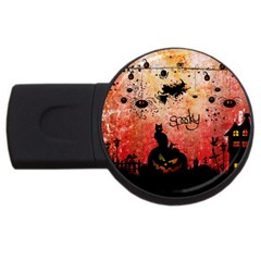 Funny Halloween Design, Cat, Pumpkin And Witch Usb Flash Drive Round (2 Gb) by FantasyWorld7
