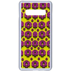 Flower Wreaths Ornate Flowers Decorative Samsung Galaxy S10 Plus Seamless Case(white) by pepitasart