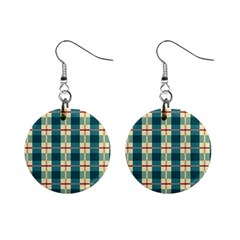 Pattern Texture Plaid Grey Mini Button Earrings