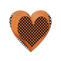 Heart Chess Board Checkerboard Heart Magnet by HermanTelo