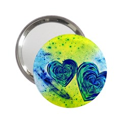 Heart Emotions Love Blue 2 25  Handbag Mirrors by HermanTelo