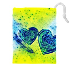 Heart Emotions Love Blue Drawstring Pouch (4xl)