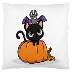 Halloween Cute Cat Large Flano Cushion Case (one Side)