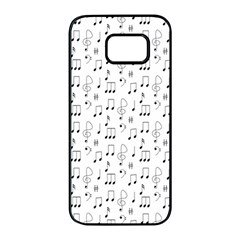 Music Notes Background Wallpaper Samsung Galaxy S7 Edge Black Seamless Case