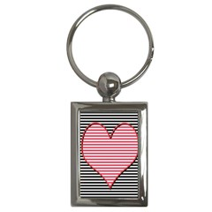 Heart Stripes Symbol Striped Key Chain (rectangle)
