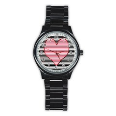 Heart Stripes Symbol Striped Stainless Steel Round Watch