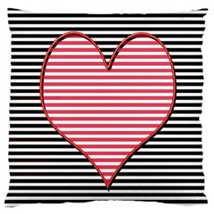Heart Stripes Symbol Striped Standard Flano Cushion Case (two Sides)