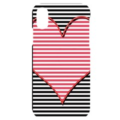Heart Stripes Symbol Striped Iphone X/xs Black Uv Print Case