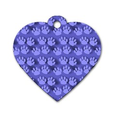 Pattern Texture Feet Dog Blue Dog Tag Heart (two Sides) by HermanTelo