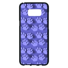 Pattern Texture Feet Dog Blue Samsung Galaxy S8 Plus Black Seamless Case