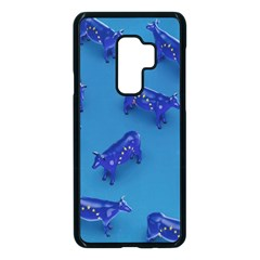 Cow Illustration Blue Samsung Galaxy S9 Plus Seamless Case(black) by HermanTelo