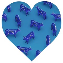 Cow Illustration Blue Wooden Puzzle Heart by HermanTelo