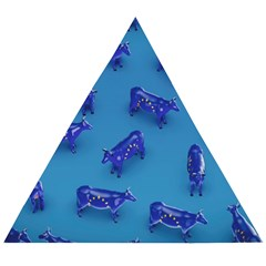 Cow Illustration Blue Wooden Puzzle Triangle