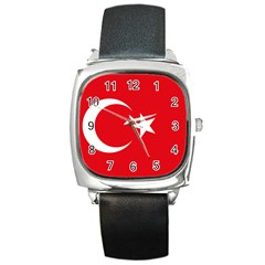 Flag Of Turkey Square Metal Watch by abbeyz71