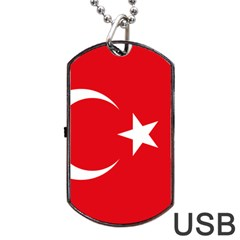 Flag Of Turkey Dog Tag Usb Flash (one Side) by abbeyz71