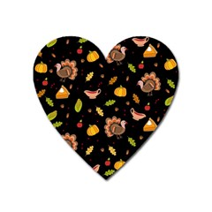 Thanksgiving Turkey Pattern Heart Magnet by Valentinaart