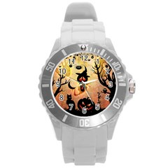 Funny Halloween Design, Pumpkin, Cat, Owl And Crow Round Plastic Sport Watch (l) by FantasyWorld7