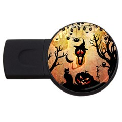 Funny Halloween Design, Pumpkin, Cat, Owl And Crow Usb Flash Drive Round (2 Gb) by FantasyWorld7