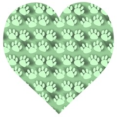 Pattern Texture Feet Dog Green Wooden Puzzle Heart