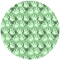 Pattern Texture Feet Dog Green Wooden Puzzle Round by HermanTelo