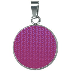 Background Polka Pattern Pink 20mm Round Necklace by HermanTelo