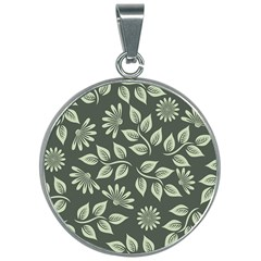 Flowers Pattern Spring Nature 30mm Round Necklace by HermanTelo