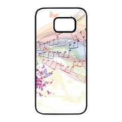 Music Notes Abstract Samsung Galaxy S7 Edge Black Seamless Case
